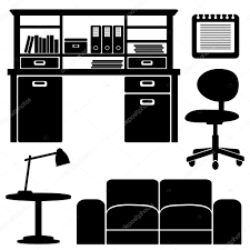Living Room Clipart Black And White Furniture Icons Living Room Office Vector Set Black Isolated
