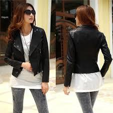 women u0027s girls cool stylish jacket zip up synthetic leather biker