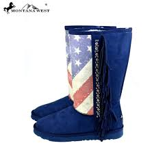Montana Flag American Pride Faux Suede Ugg Boots