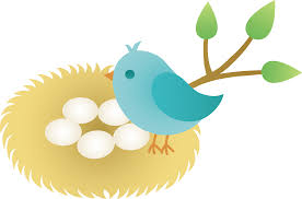 blue bird with nest of eggs free clip art