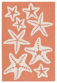 Ocean Themed Rug Decorating Interesting Unique Beachfront Starfish Rug Ivory Coral