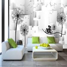 3d stereo dandelion couple bicycle tv background wall mural