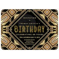 art deco glam gold birthday invitation card 5x7