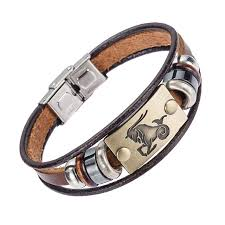 leather bracelet clasps images Alibaba hot selling europe fashion 12 zodiac signs bracelet with jpg