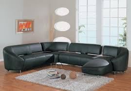modern style black leather contemporary sofa with black tufted
