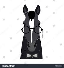 hipster halloween background vector flat horse hipster head isolated stock vector 530223985