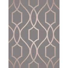 apex geometric trellis wallpaper charcoal grey and copper fine