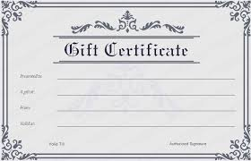 formal frame gift certificate template