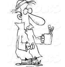 vector of a cartoon poor man begging with a pencil cup coloring