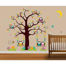stickers arbre chambre fille stickers muraux enfant l arbre de hibou achat vente stickers