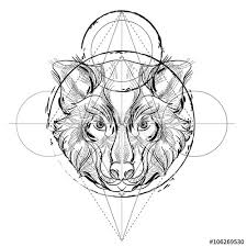 animal head triangular icon geometric trendy line design vector