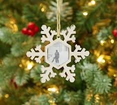 snowflake frame ornament pottery barn