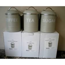 tea coffee sugar matt enamel kitchen storage jars tins vintage