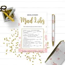 bridal mad libs pink and gold bridal shower mad libs golden glitter floral