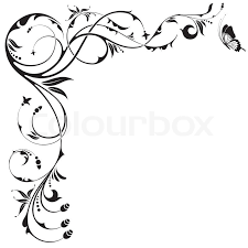 floral border with butterfly element for design vector