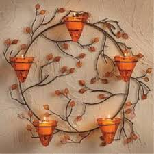 metal wall decor Wall Sconce 5 Votive Candle Holder Wreath Fall