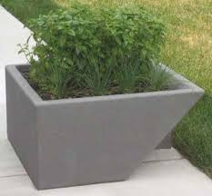 concrete planter with stainless steel fin concrete planters