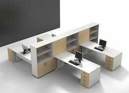 Modern Wooden Office Tables Exquisite Stylish Office Furniture Feature White Lacquered Wooden