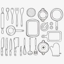 outil de cuisine outil de cuisine à ligne de vecteur ustensiles de cuisine lignes