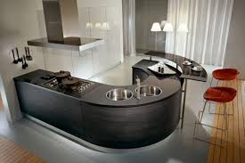 High End Kitchen Islands Chic Curved Shape High End Kitchen Island Come With Black Color