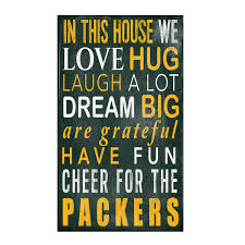 wall decor signs for home green bay packers in this house wood sign wall decor home u0026 office