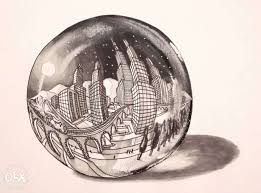 3d sketch moon lit city in a crystal ball indore books