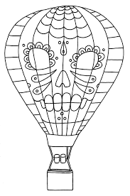air balloon coloring pages with sugar skull images coloringstar