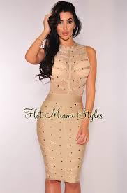 miami styles gold studded bandage dress