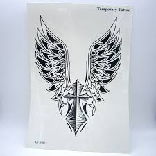 1pcs big cool mens cross wing tattoos beautiful arm back cross wings
