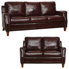 Genuine Italian Leather Sofa And Loveseat In Sienna Traditional - Leather living room chair