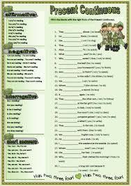 verb tenses present continuous worksheet
