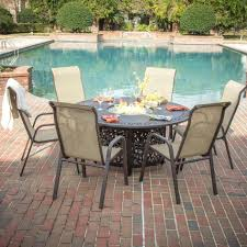 Poolside Furniture Ideas Ravishing Patio Furniture Round Propane Fire Pit Table Beige Stone