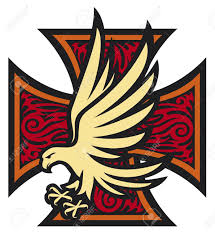 iron cross in tattoo style and eagle tribal style cross and