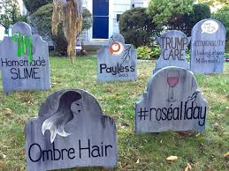 Homemade Grave Decorations Man Makes Sarcastic Halloween Graveyard Filled With This Year U0027s