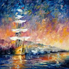 sailboats in sunrise