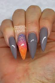 grey neon glitter stiletto long nails to create the perfect