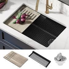 bowl kitchen sink for 30 inch cabinet kraus workstation 30 inch undermount granite composite single bowl kitchen sink in metallic black with accessories walmart