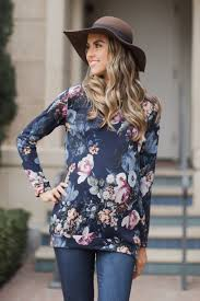 navy blue floral print sweater