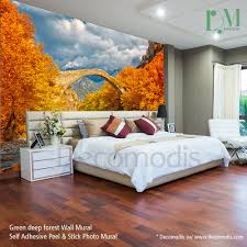 bridge over river landscape wall mural autumn landscape of bridge bridge over river landscape wall mural autumn landscape of bridge over river photo mural self adhesive peel stick nature autumn forest wall mural
