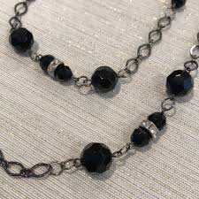 black necklace with images 70 off jewelry long wrap necklace with black faux stones from jpg