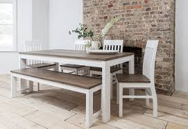 hever dining table with 5 chairs u0026 bench in white and dark pine