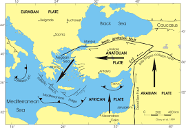 Map Mediterranean Map Active Tectonics In East Mediterranean Sea Eurasian Plate