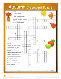 autumn crossword puzzle free printable autumn and free
