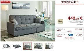 venteunique com canapé canapé 3 places convertible canetti en tissu gris clair canapé