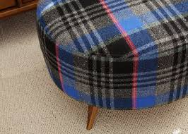 upholster an ottoman with a vintage plaid skirt 6 steps with
