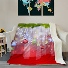 christmas hanging decorations pattern soft fleece thermal blanket