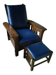 stickley bow morris recliner chair and ottoman navy leather a 1 1384