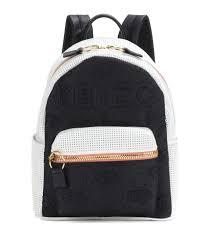 kenzo kombo leather and fabric backpack multicoloured women kenzo