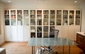 furnitures indoor design in solid wood bookcase with glass door