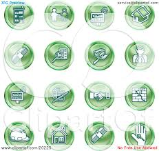 clipart illustration of a collection of green icons of apartments